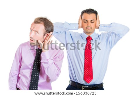 A portrait of two co-workers, businessmen, corporate or government employees, one being very alert and curious, the second in state of denial and ignore, isolated on a white background. World polarity - stock photo