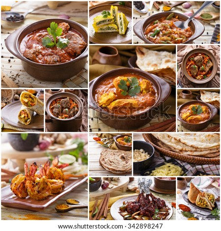 A portrait of various indian food buffet, collage - stock photo
