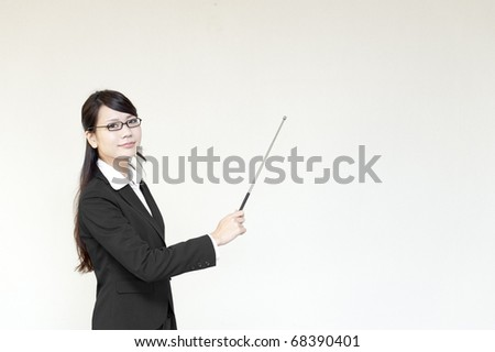 a portrait of young business woman and blank white space - stock photo