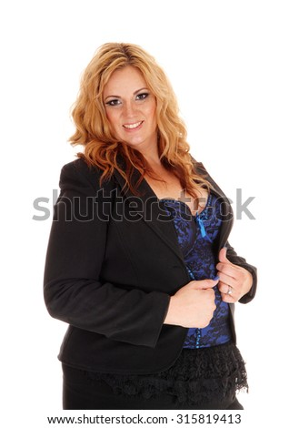 A portrait picture of a plus size blond business woman, looking into the camera, smiling, isolated for white background.  - stock photo