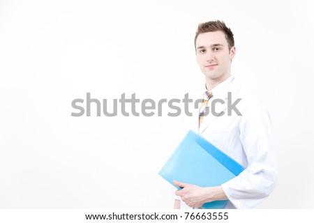 a portraitt of doctor isolated on white background - stock photo