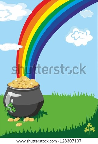 A pot of gold at the end of the rainbow with a colorful background and a place for text or imagery - stock photo