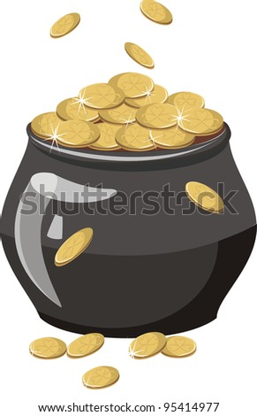 A pot of gold  isolated on a white background - stock photo