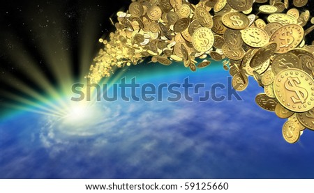 A powerful stream of golden coins flowing to Earth - stock photo