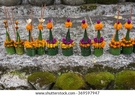 A prayer offering at the Temple in Luang Prabang Laos, Traditional of Asia - stock photo