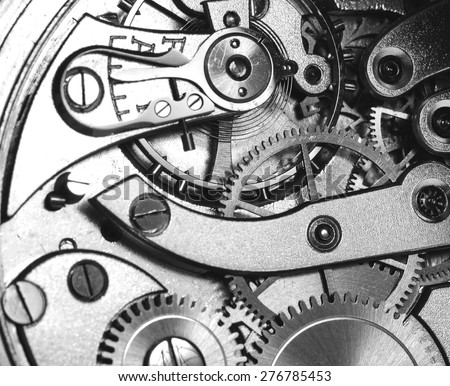 A precise clockwork. Image in black and white. - stock photo