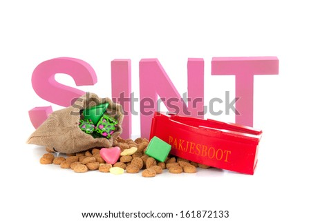"A present boat with pepernoten, for celebrating a dutch holiday "" Sinterklaas ""  on the fifth of December - stock photo"
