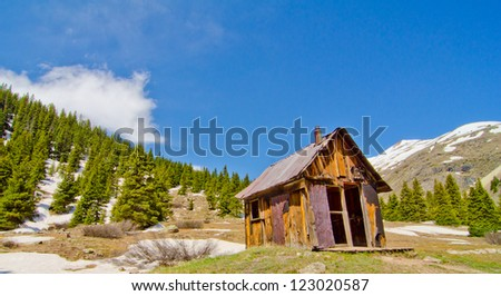A Preserved House in Animas Forks, a ghost town in the San Juan Mountains of Colorado - stock photo