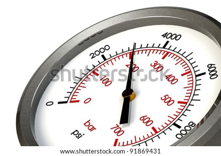 A Pressure Gauge Reading a Pressure of 3000 PSI - stock photo