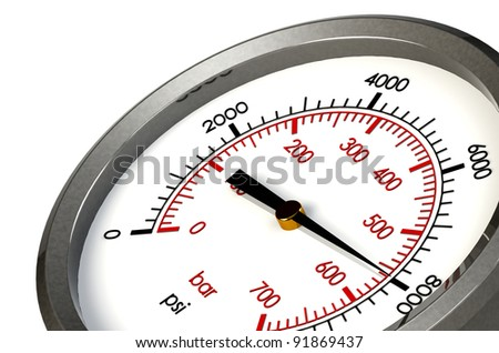 A Pressure Gauge Reading a Pressure of 8000 PSI - stock photo