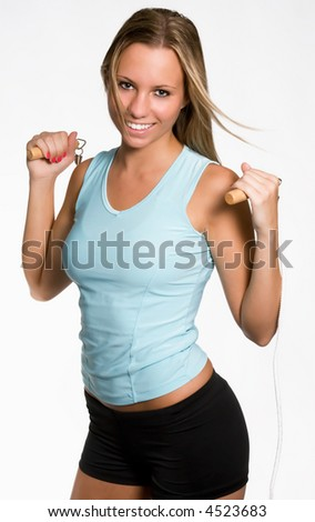 A Pretty Blonde With A Jump Rope - stock photo