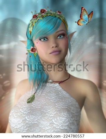 A pretty female fairy looking at a butterfly. - stock photo