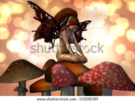 A pretty female fairy sitting on a mushroom. Peach and pinks and browns and yellow light surround her. - stock photo