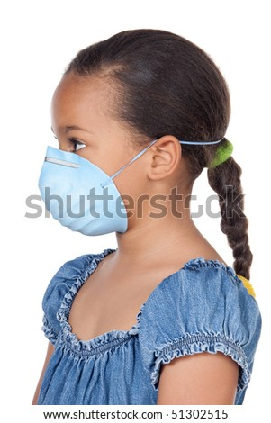 A pretty girl with a blue mask - stock photo