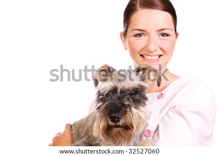 A pretty smiling vet holding a Miniature Schnauzer and looking at the camera on a white background. - stock photo