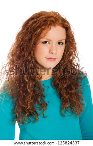 A pretty woman with red hair - stock photo