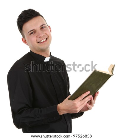 A priest with a bible, isolated on white - stock photo