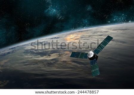 A probe investigates a beautiful cloud covered planet in deep space. Clouds swirl over the planet's surface and through its atmosphere. Elements of this image furnished by NASA. - stock photo