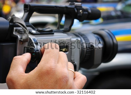 a professional digital video camera - stock photo