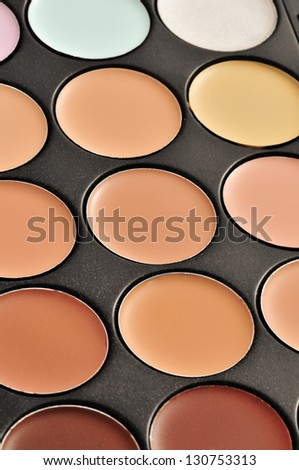 a professional makeup palette - concealers - stock photo