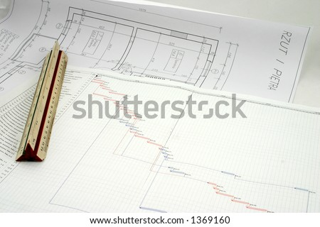 A progress chart put on the design with ruler - stock photo