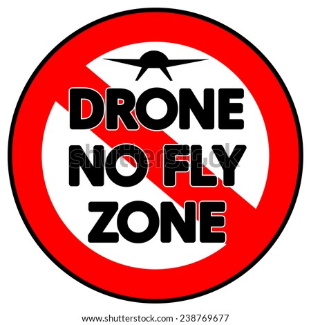 A prohibitive Drone No Fly Zone sign isolated on white - stock photo