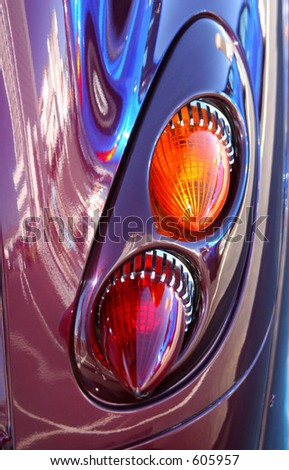 A PT Cruiser car with special retro taillights. - stock photo