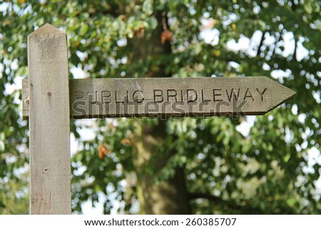 A Public Bridleway Sign on a Countryside Track. - stock photo