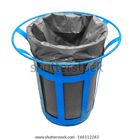A public trash in the shopping center. isolated on white background with clipping path. - stock photo