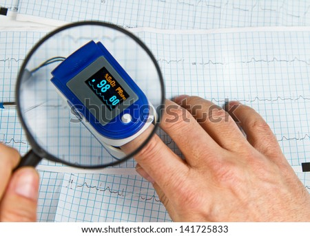 A pulse oximeter used to measure pulse rate and oxygen levels with ECG background - stock photo