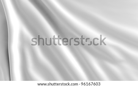 A pure white flag in the wind - stock photo