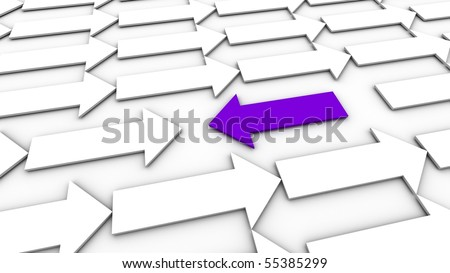 A purple arrow going against the flow. - stock photo
