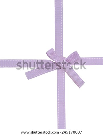 A purple awareness ribbon (bow tied) on white background - stock photo