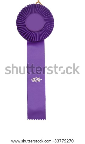 A purple ribbon isolated on white! - stock photo