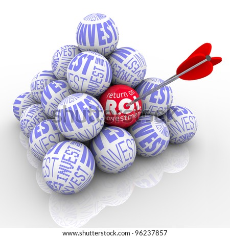 A pyramid of balls marked Invest and an arrow targeting one with the words Return on Investment symbolizing the need to target the best investing strategy - stock photo
