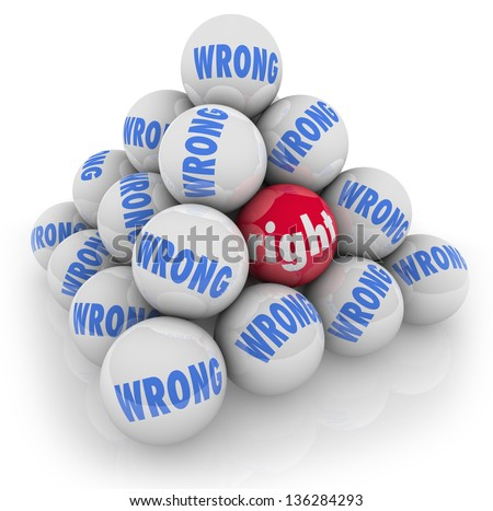 A pyramid of balls with one marked Right and others with word Wrong to symbolize picking or choosing the best selection or choice among many options - stock photo