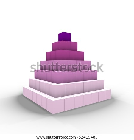 A pyramid of cubes - a 3d image - stock photo
