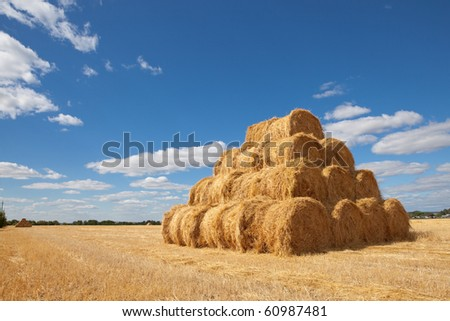 A pyramid of hay with the blue cloudy sky in the background - stock photo