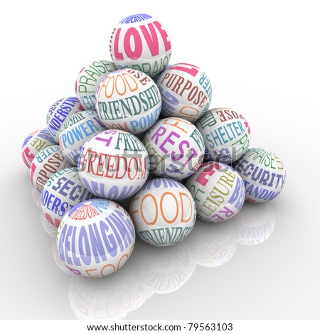 A pyramid of spheres containing words representing the main desires and needs the average human experiences in life - stock photo