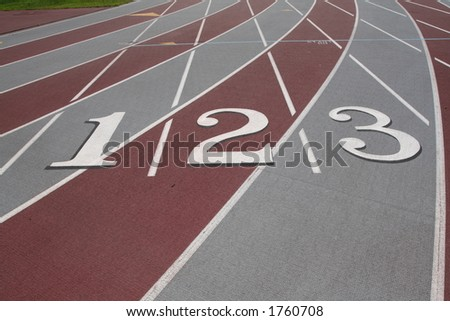 a race track (three lanes) - stock photo