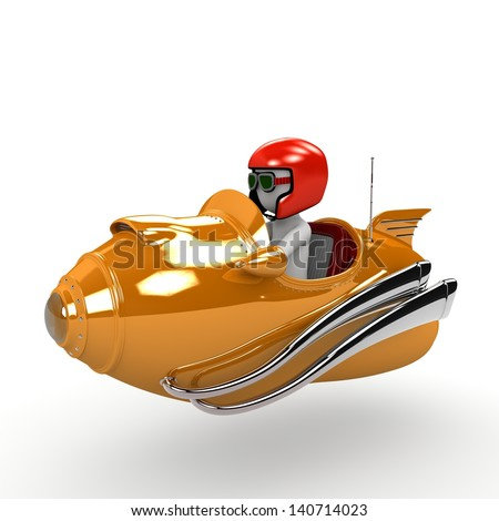 A racer sitting in a cool orange rocket. - stock photo