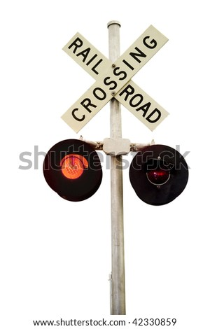 A rail road signal with one red light on.  Isolated on white. - stock photo