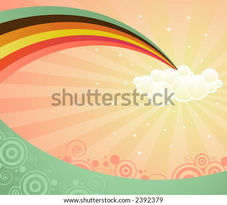 A rainbow ends in a cloud, stretching over a strange and magical landscape -- retro colors and style - stock photo