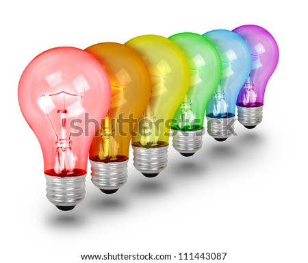 A rainbow of colorful light bulbs are isolated on a white background. Use it for an idea or creativity concept. - stock photo