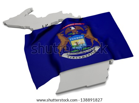 A realistic flag covering the shape of Michigan - stock photo