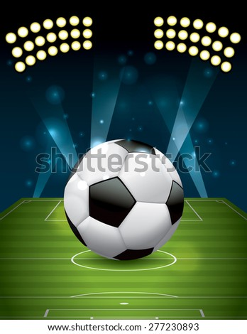 A realistic football - soccer ball on a textured grass playing field. - stock photo