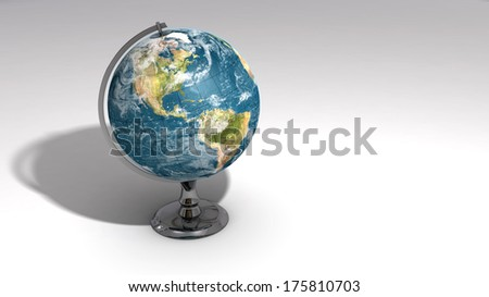 A realistic globe on a chrome pedestal over white featuring the western hemisphere. Some elements of this image furnished by NASA. - stock photo