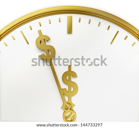 A realistic golden rendering of a clock with dollars as hands isolated on white. Time is money (series) - stock photo