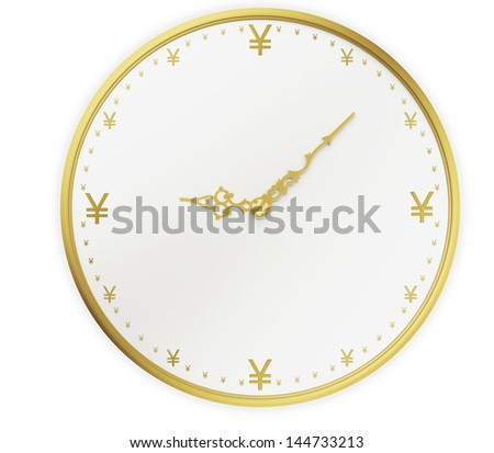 A realistic golden rendering of a clock with Yen as digits isolated on white. Time is money (series) - stock photo