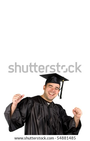 A recent graduate posing in his cap and gown and celebrating.  Isolated over a white background with negative space above the model. - stock photo